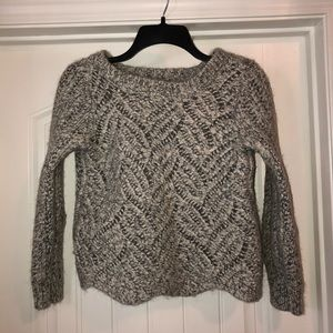 Ann Taylor Loft Gray Cable Knit Wool Sweater